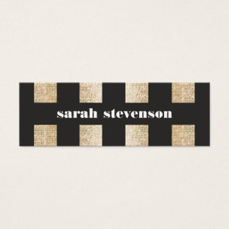 Bold Black and Gold Faux Sequin Modern Fashionista Mini Business Card
