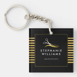 Bold Black and Gold Hair Stylist Keychain