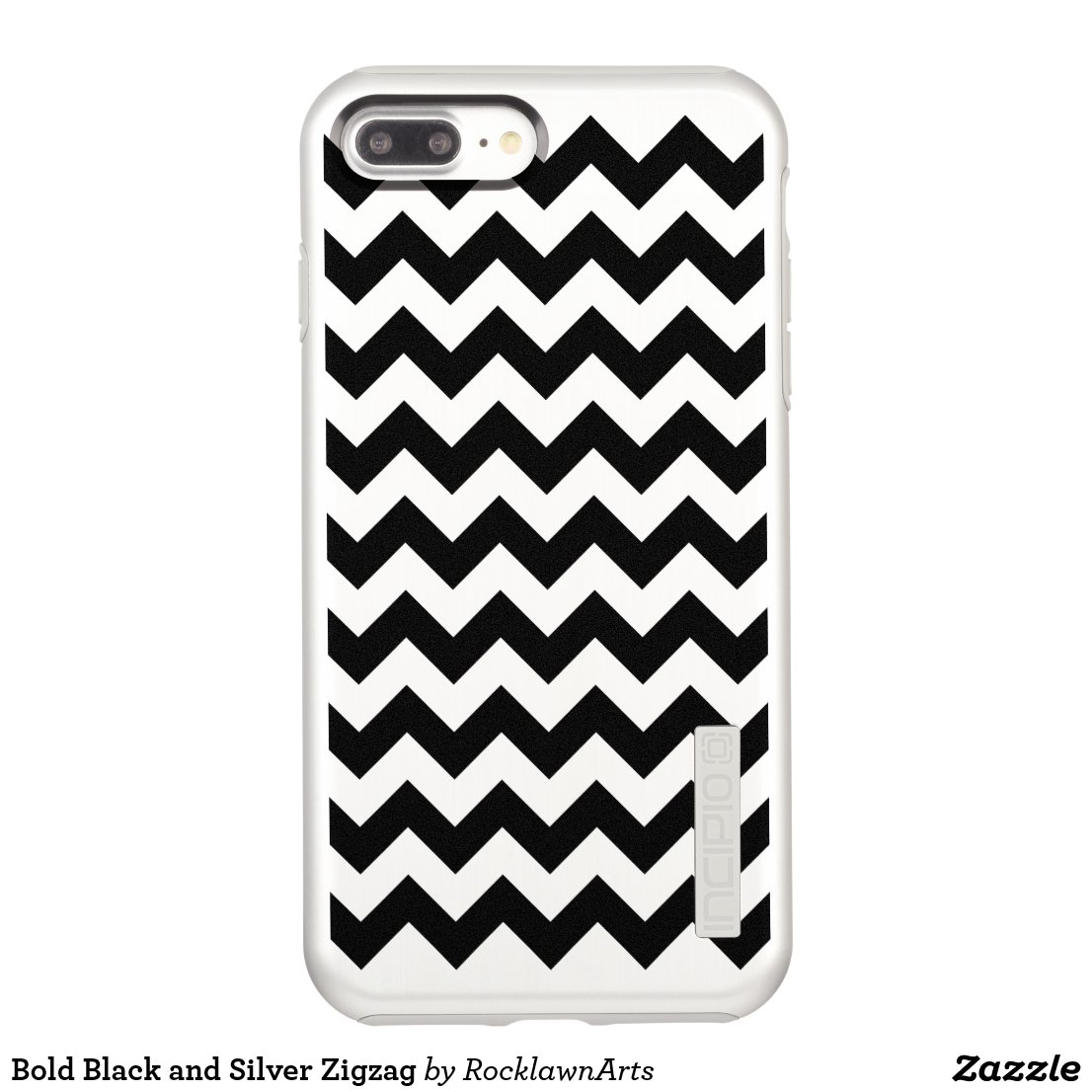 Bold Black and Silver Zigzag Incipio DualPro Shine iPhone 7 Plus Case