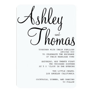 Bold Black and White 5x7 Wedding Invitation