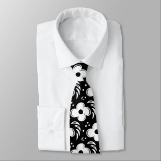 Bold Black and White Big Flower Pattern Tie