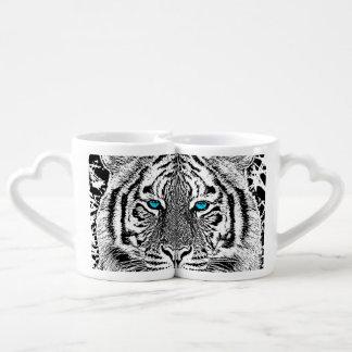 Bold Black And White Blue Eyes Tiger Coffee Mug Set