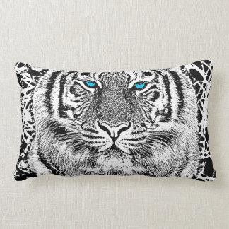 Bold Black And White Blue Eyes Tiger Lumbar Pillow