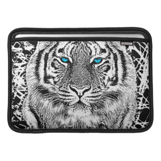 Bold Black And White Blue Eyes Tiger MacBook Air Sleeve
