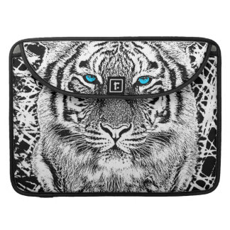 Bold Black And White Blue Eyes Tiger Sleeve For MacBook Pro
