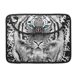 Bold Black And White Blue Eyes Tiger Sleeve For MacBooks