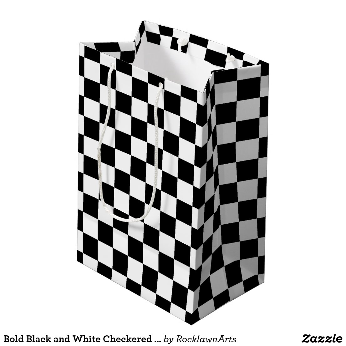 Bold Black and White Checkered Gift Bag