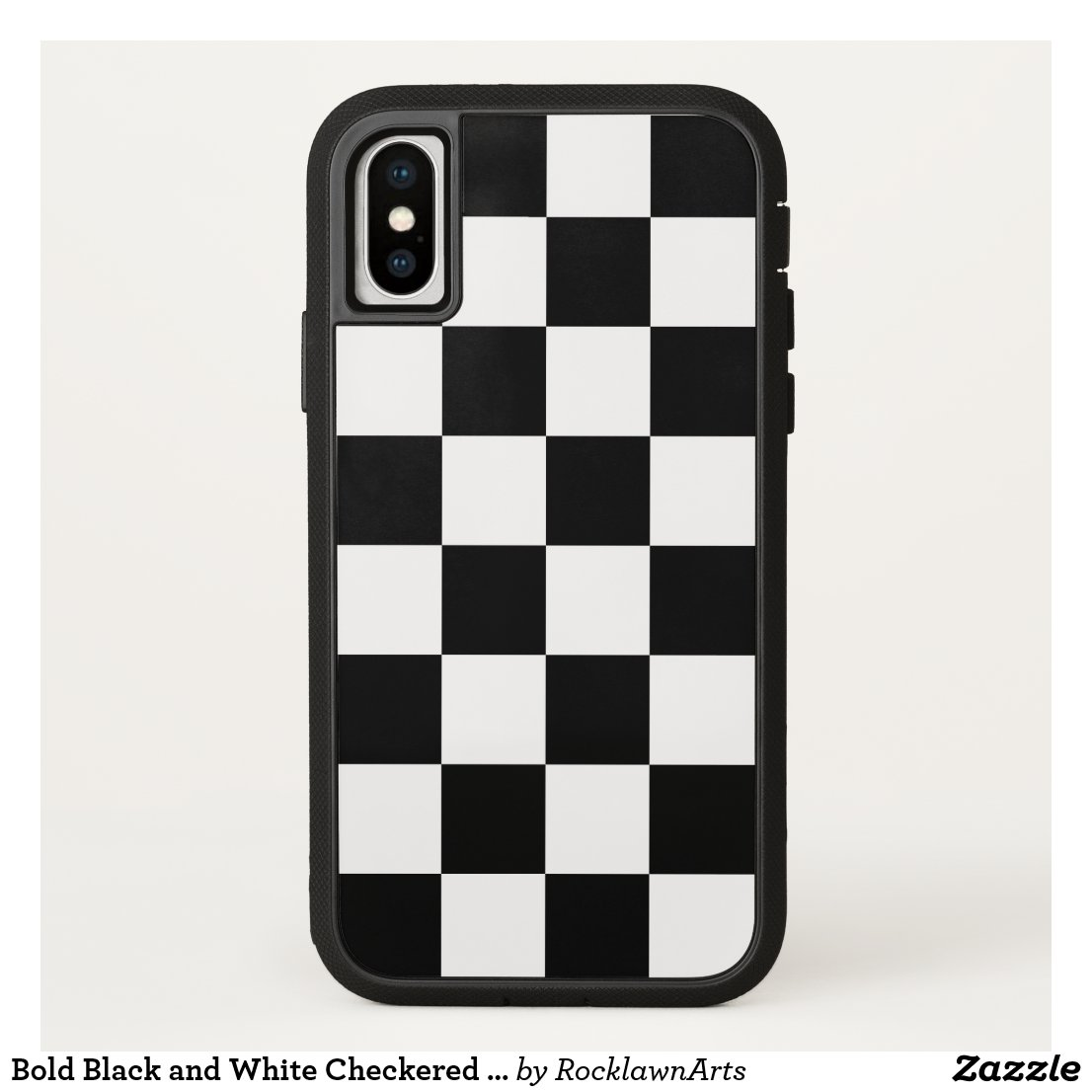 Bold Black and White Checkered Pattern iPhone Case