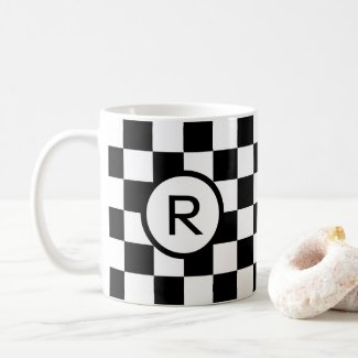 Bold Black and White Checkered Pattern, Monogram Coffee Mug