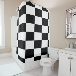 Bold Black And White Checkered Rectangles Shower Curtain