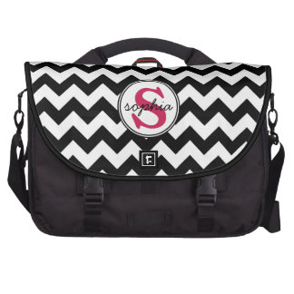 Bold Black and White Chevron with Hot Pink Initial Bags For Laptop