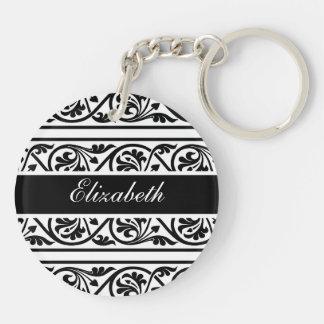 Bold Black and White Damask Double-Sided Round Acrylic Keychain