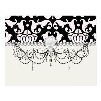 bold black and white damask pattern postcard