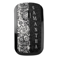 Bold Black And White Floral Design Wireless Mouse at Zazzle