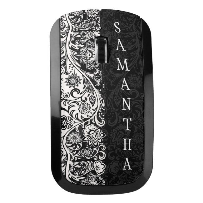Bold Black and White Floral Design Wireless Mouse