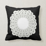 Bold Black and White Floral Pattern Pillow