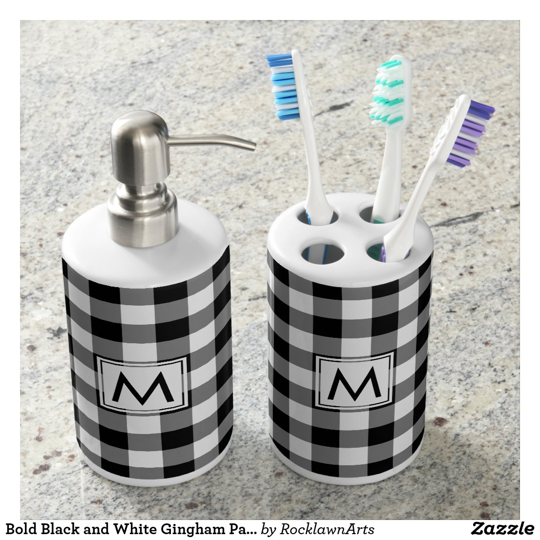 Bold Black and White Gingham Pattern with Monogram Bath Set