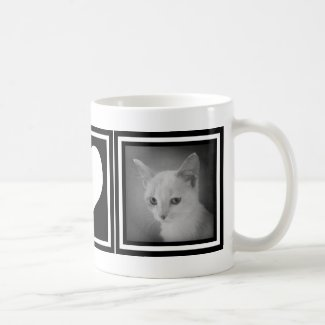 Bold Black and White Heart with Two Instagram Pics Classic White Coffee Mug