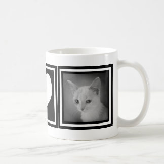 Bold Black and White Heart with Two Instagram Pics Coffee Mug
