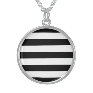 Bold Black And White Horizontal Stripes Sterling Silver Necklace