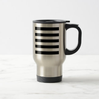 Bold Black And White Horizontal Stripes Travel Mug