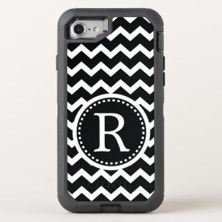 Bold Black and White Monogram Chevron OtterBox Defender iPhone 7 Case