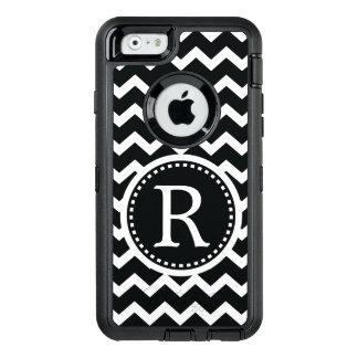 Bold Black and White Monogram Chevron OtterBox Defender iPhone Case