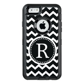 Bold Black And White Monogram Chevron Otterbox Defender Iphone Case by VillageDesign at Zazzle