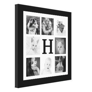 Bold Black and White Monogram Family Photo Collage Canvas Print