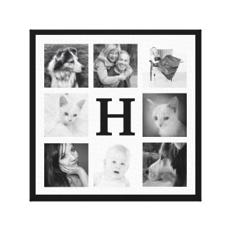 Bold Black and White Monogram Family Photo Collage Gallery Wrapped Canvas