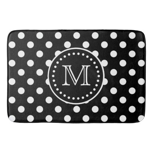 Bold Black And White Polka Dot Monogram Bathroom Mat Zazzle