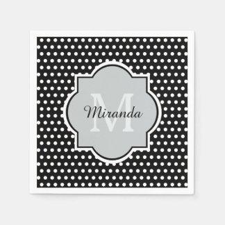 Bold Black and White Polka Dots Monogram and Name Napkin