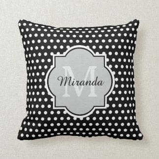 Bold Black and White Polka Dots Monogram and Name Throw Pillow
