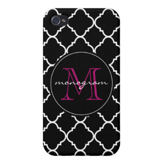 bold black and white quatrefoil case for iPhone 4