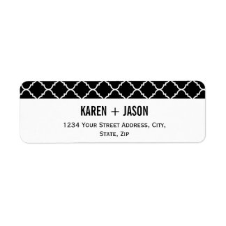 bold black and white quatrefoil label