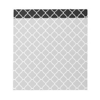 bold black and white quatrefoil notepad