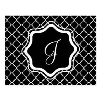 bold black and white quatrefoil postcard