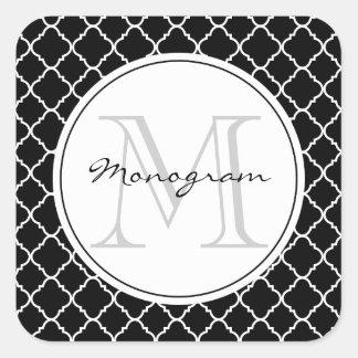 bold black and white quatrefoil square sticker