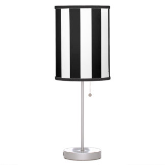 Bold Black and White Stripes Lamp Shade with Lamp