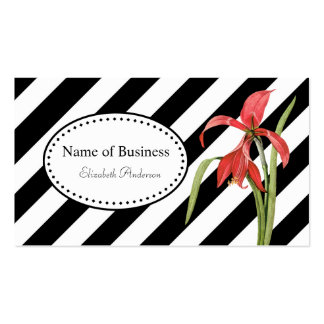 Bold Black and White Stripes Red Amaryllis Flower Double-Sided Standard Business Cards (Pack Of 100)