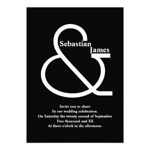 Bold Black and White Wedding Custom Announcements