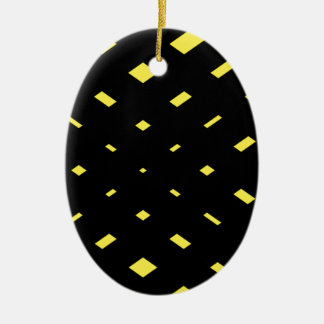 Bold black and yellow abstract ceramic ornament