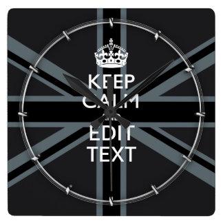 Bold Black Black  Keep Calm Your Text Union Jack Square Wall Clock