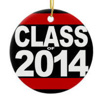 Bold Black Block Class of 2014 Graduation Ceramic Ornament