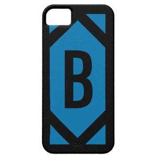 Bold Black Border Blue Monogram iPhone 5 Case