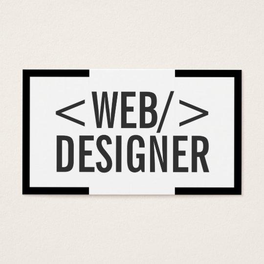 Bold Black Border Web Design Business Card