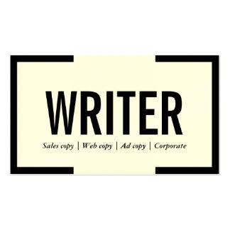 Bold Black Border Writer/Editor Business Card