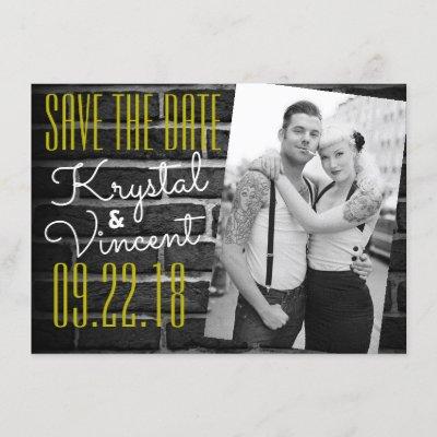 Bold Black Brick Wedding Save the Date Invitation