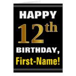 [ Thumbnail: Bold, Black, Faux Gold 12th Birthday W/ Name Card ]