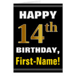 [ Thumbnail: Bold, Black, Faux Gold 14th Birthday W/ Name Card ]